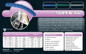 Various Sizes Super D12 Halyad/Sheet&Control Rope for Racing/Keel Boat/Multihull/Yacht/Dinghy