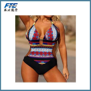 2017 Patterned Frill Ladies Two-Piece Bikini pictures & photos