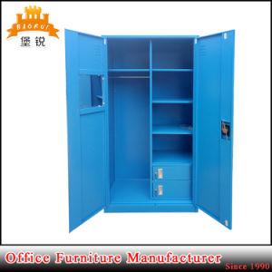 Metal Blue Swing Door Large Bedroom Wardrobe pictures & photos