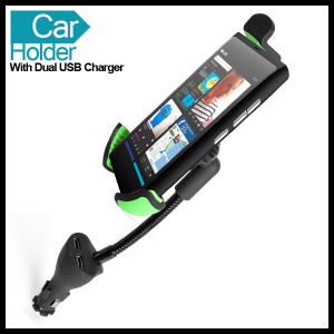 Dual USB Car Mount Holder Charger Socket for Samsung Galaxy S2 S3 S4 Note 2 3 iPhone 4S 4 3GS 5 5c 5s 6 Touch HTC Sony Blackberry Smarphones pictures & photos