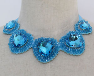Lady Blue Heart Crystal Costume Jewelry Choker Fashion Necklace (JE0168) pictures & photos