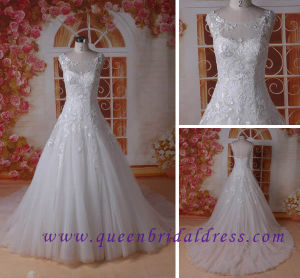 Cheapest Romantic Scoop Neckline Wedding Dress with Lurury Lace Wedding Gowns