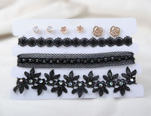 Three Rows of Black PU and Fabric Choker Earring Set pictures & photos