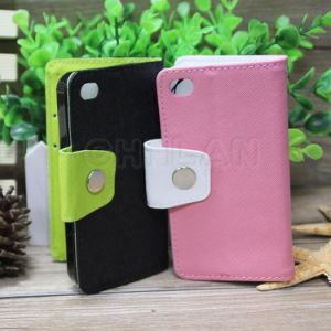 Moz Style Premium PU Leather Flip Case Wallet Case for iPhone 4 4s 4G