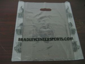 LDPE Transparent Printed Plastic Punch out Handle Merchandise Bag pictures & photos