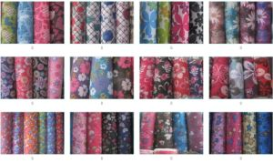 600d Flower PVC Coating Printing School Bag Fabric