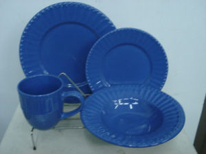 16PCS Blue Color Embossed Dinner Set