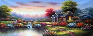 Garden Beautiful Landscape Oil Painting China Home Decor Wholesale (ERL-066) pictures & photos