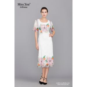 Miss You Ailinna 801856 Women Elegant White Lace Print Dress pictures & photos