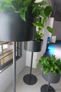 Uispair 100% Steel Floor Round Planter Flower Pot for Modern Office Garden Decoration pictures & photos
