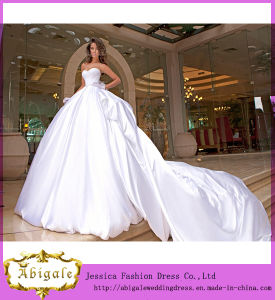 New Hot Ball Gown White Satin Long Train Sweetheart Bodice Wedding Dresses With Detachable Yj0040