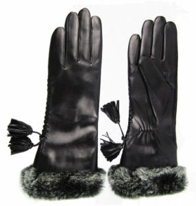 Lady Fashion Leather Gloves (JYG-23015) pictures & photos