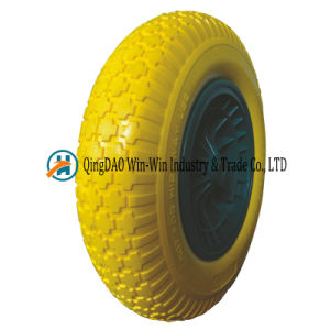 Solid PU Wheelbarrow Wheel 4.00-8 pictures & photos