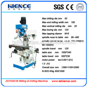 Vertical Universal Drilling and Milling Machine with High Precision Zx7550cw pictures & photos