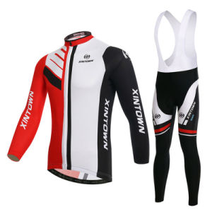 Custom Men Sublimated Long Sleeves Cycling Jersey and Bib Pants pictures & photos