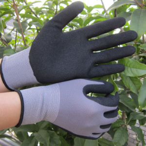 Protective Nylon Spandex Sandy Nitrile Safety Work Gloves pictures & photos