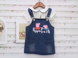 Baby Girls Casual Soft Denim Overalls pictures & photos
