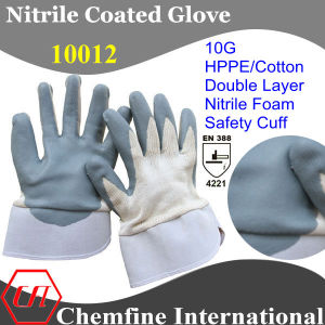 10G Hppe/Cotton Double Layer Knitted Glove with Nitrile Foam Coated Palm & Safety Cuff/ En388: 4221 pictures & photos