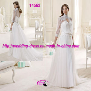 Special Slim High Collar Wedding Dress with Long Sleeve pictures & photos