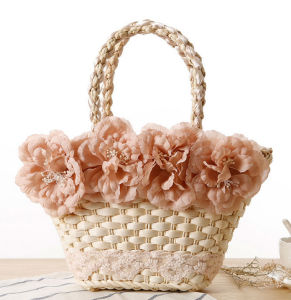 Summer Fashion 2016 Natural Straw Bags with Flower