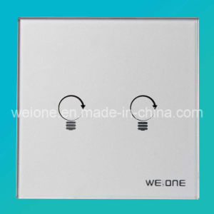 OEM/ODM RF Radio Frequency Silver Tempered Glass 2 CH Remote Control Switch (L11902-NDS)