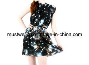 Nebula Galaxy Print Ladies′ Dress (MWNGP13032)