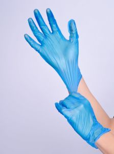 2016 Cheaper Price Blue Disposable Vinyl Gloves pictures & photos