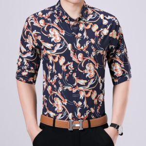 Hot Sale Button Down Men′s Polo Shirt with Flower Printed pictures & photos