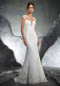 Applique Over Champagne Tulle Sleeveless Mermaid Wedding Dress W1471944 pictures & photos
