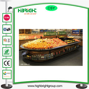 Oval Wood Metal Vegetable Fruit Display Rack pictures & photos