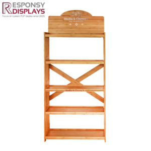Hot Sale Customized 5 Layer Bamboo Floor Display Stand for Pet Products pictures & photos