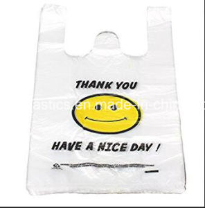 HDPE Smile Face Plastic T-Shirt Bag with Printing pictures & photos