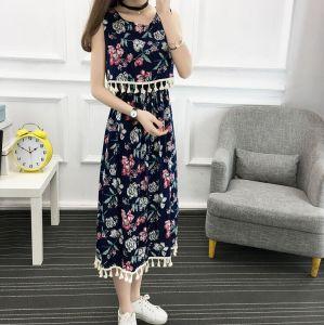 Flower Print Chiffon Tunic Beach Dress for Women pictures & photos