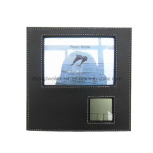 Leather Photo Frame with Electronic Clock (200002) pictures & photos