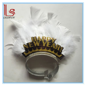 Wholesale Happy New Year Feather Crown Paper Tiaras pictures & photos