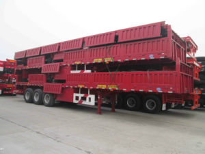 Flat Type Side Wall 3axle Cargo/Fence Semi-Trailer pictures & photos