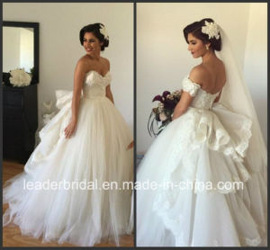 Puffy Back Bridal Dress Fashion Vestidos Lace Tulle Wedding Gown W15237 pictures & photos
