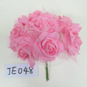Je048 High Quality Spring Colorful Handmade Foam Rose Bunch Artificial Flowers