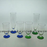 Hand Made Drinking Glass with Colorful Base (B-C004) pictures & photos
