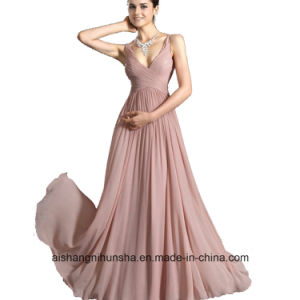 Women V-Neck Chiffon Sleeveless Evening Party Prom Dress pictures & photos