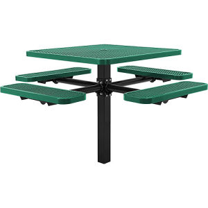 "46"" Square in-Ground Picnic Table Top/4 Bench Seats, Expanded Metal"