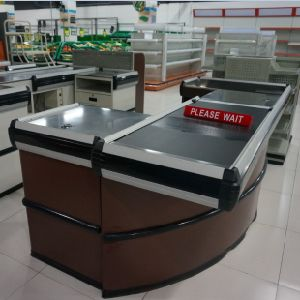 Supermarket Store Checkout Cash Counter with Conveyor Belt by Factory pictures & photos