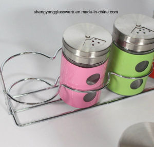 4 PC Stainless Steel Wrap Glass Spice Storage Jar Set with Lid and Shelf pictures & photos
