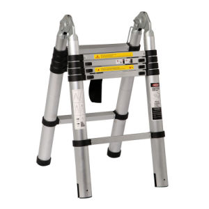 En131 Approved Aluminium Telescopic Ladder with Small Hinges pictures & photos