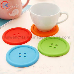 Button Shape Silicone Cup Coaster pictures & photos