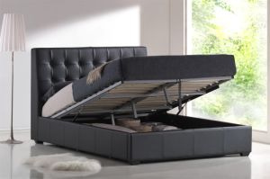 Modern Home Furniture PVC Pneumatic Black Storage Hotel Bed pictures & photos