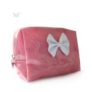 Latest Bowknot Lady Beauty Women Clear PVC Cosmetic Toiletry Makeup Bag pictures & photos