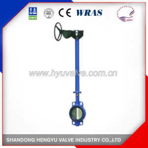 Carbon Steel Pneumatic Wafer Type Butterfly Valve with Blue Color pictures & photos