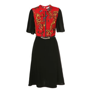 Fashion Apparel Zipper Placket Black Women Prom Dress with Belt pictures & photos