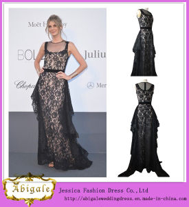 2014 New Style Sheath Lace Black Appliques Scoop Sleeveless Nude Sale Evening Dress Yj0053